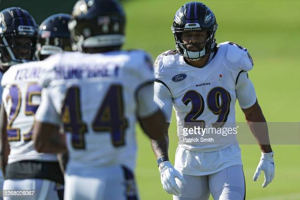 Safety Earl Thomas III of the Baltimore Ravens trains during the Baltimore Ravens Training Camp at Under Armour Performance Center Baltimore Ravens...