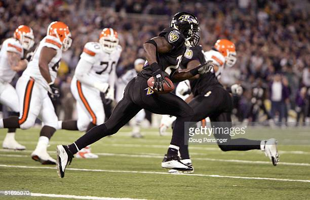 Safety Ed Redd of the Baltimore Ravens runs downfield after an interception against the Cleveland Browns on November 7 2004 at MT Bank Stadium in...