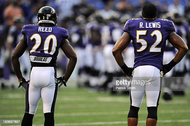 Safety Ed Reed of the Baltimore Ravens and teammate linebacker Ray Lewis of the Baltimore Ravens look on before playing the Jacksonville Jaguars...