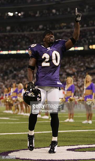 Safety Ed Reed of the Baltimore Ravens gestures as he is announced on the field before the game against the Kansas City Chiefs on October 4 2004 at...