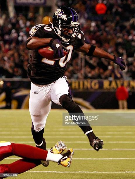 Safety Ed Reed of the Baltimore Ravens returns a fumble for a touchdown against the Washington Redskins December 7 2008 at MT Bank Stadium in...