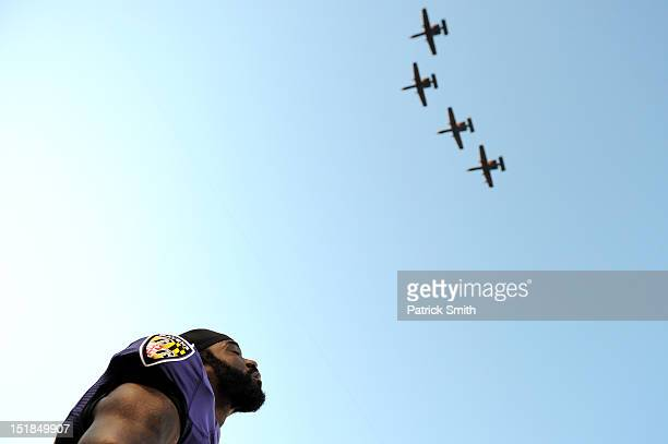 Safety Ed Reed of the Baltimore Ravens stands on the sideline against Cincinnati Bengals at MT Bank Stadium on September 10 2012 in Baltimore Maryland
