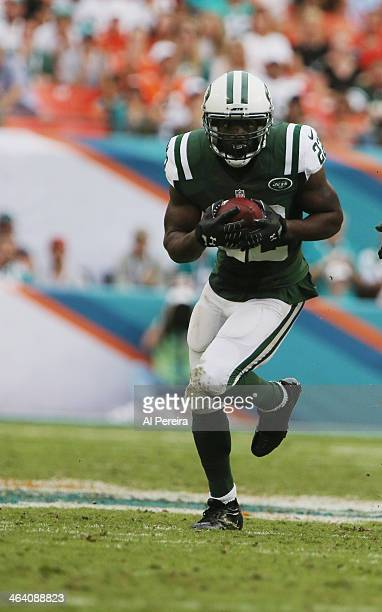 Safety Ed Reed of the New York Jets has an Interception against the Miaim Dolphins at Sun Life Stadium on December 29 2013 in Miami Gardens Florida