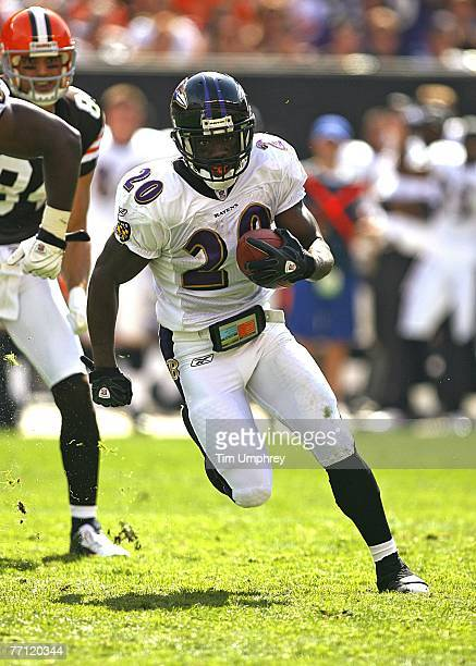 Safety Ed Reed runs down field after an interception in a game against the Cleveland Browns at the Cleveland Browns Stadium on September 30, 2007 in...
