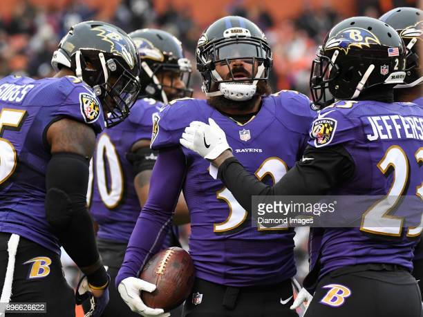 Safety Eric Weddle of the Baltimore Ravens celebrates an interception in the first quarter of a game on December 17 2017 against the Cleveland Browns...