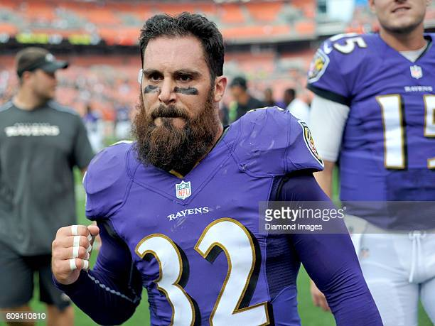 Safety Eric Weddle of the Baltimore Ravens pumps his fist as he walks off the field after a game against the Cleveland Browns on September 18, 2016...