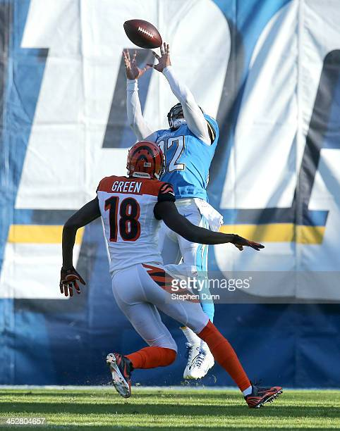 Safety Eric Weddle of the San Diego Chargers intercepts a pass in the second quarter intended for widee receiver AJ Green of the Cincinnati Bengals...