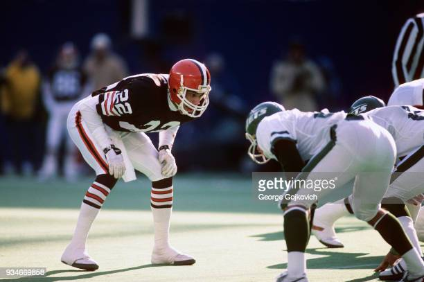 Safety Felix Wright of the Cleveland Browns looks on from the field during a game against the New York Jets at Giants Stadium on December 22 1985 in...