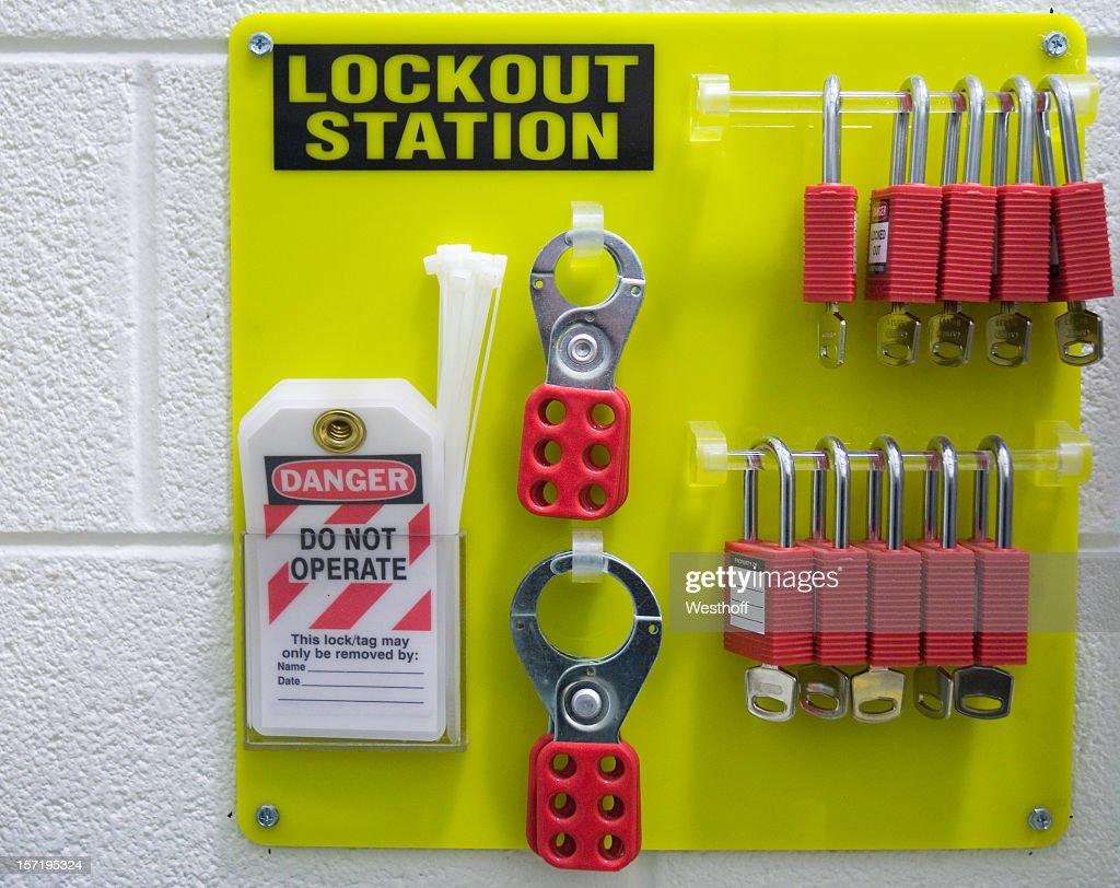 Safety first padlocks and keys : Stock Photo