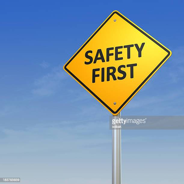 safety first warning sign - safety stock pictures, royalty-free photos & images