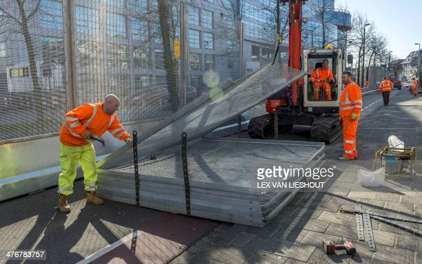 Safety gates are placed on March 5, 2014 in the vicinity of the World Forum, the location which will host the Nuclear Security Summit in The Hague....