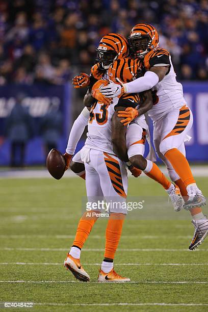 Safety George Iloka of the Cincinnati Bengals has an Interception against the New York Giants in the game at MetLife Stadium on November 14 2016 in...