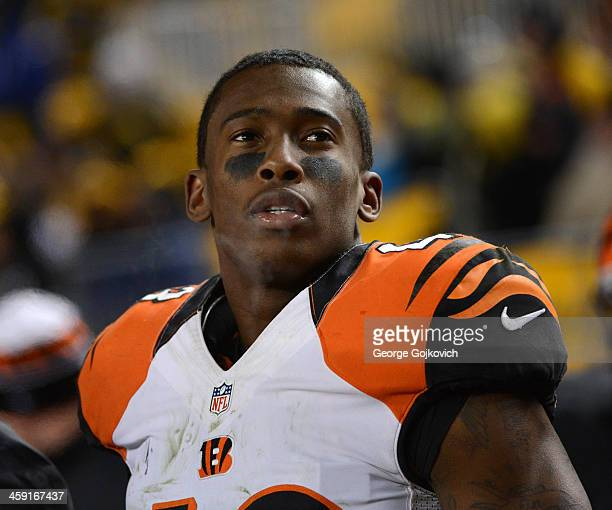 Safety George Iloka of the Cincinnati Bengals looks on from the sideline durng a game against the Pittsburgh Steelers at Heinz Field on December 15...