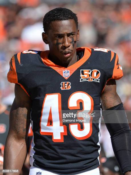 Safety George Iloka of the Cincinnati Bengals walks along the sideline in the third quarter of a game on October 1 2017 against the Cleveland Browns...