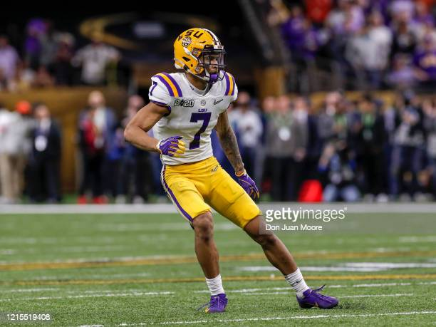 Safety Grant Delpit of the LSU Tigers during the College Football Playoff National Championship game against the Clemson Tigers at the MercedesBenz...