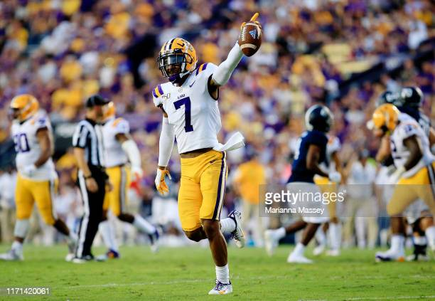 Safety Grant Delpit of the LSU Tigers reacts during the game against Georgia Southern Eagles at Tiger Stadium on August 31 2019 in Baton Rouge...
