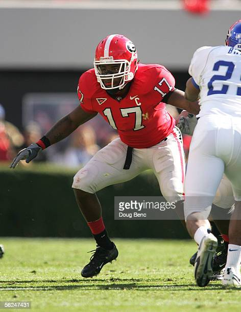 Safety Greg Blue of the Georgia Bulldogs blocks on a punt play against the Kentucky Wildcats at Sanford Stadium on November 19 2005 in Athens Georgia