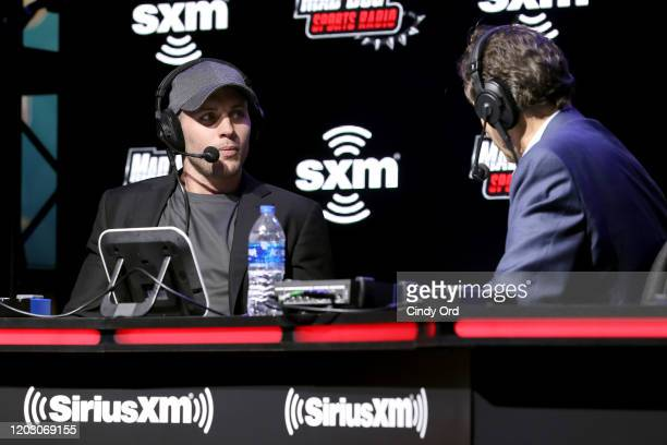 NFL safety Harrison Smith of the Minnesota Vikings and SiriusXM host Chris Mad Dog Russo speak onstage during day 2 of SiriusXM at Super Bowl LIV on...