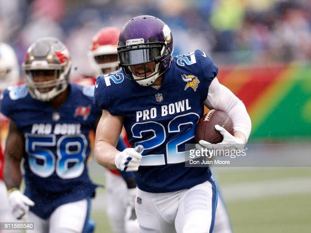Safety Harrison Smith of the Minnesota Vikings from the NFC Team runs back an interception during the NFL Pro Bowl Game at Camping World Stadium on...