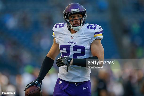 Safety Harrison Smith of the Minnesota Vikings warms up prior to the game against the Seattle Seahawks at CenturyLink Field on August 18 2016 in...