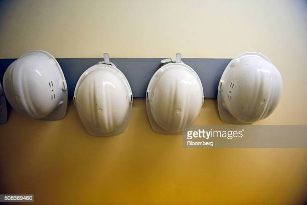 Safety helmets hang from a wall inside a former regional government nuclear bunker in Ballymena UK on Thursday Feb 4 2016 The property that was...