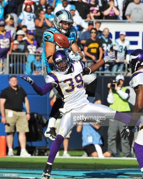 Safety Husain Abdullah of the Minnesota Vikings breaks up a pass to tight end Greg Olsen of the Carolina Panthers October 30 2011 at Bank of America...