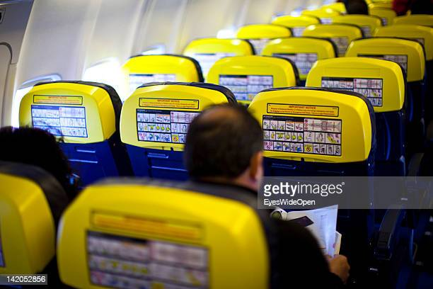 Safety instructions for Passengers boarding for departure of a RyanAir flight to Alicante Spain at Allgaeu Airport on February 18 2012 in Memmingen...