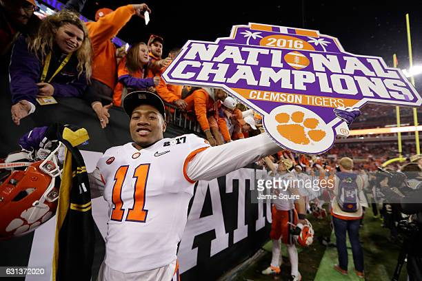 Safety Isaiah Simmons of the Clemson Tigers celebrates after defeating the Alabama Crimson Tide 3531 to win the 2017 College Football Playoff...