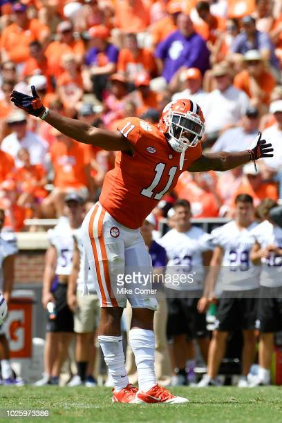 Safety Isaiah Simmons of the Clemson Tigers takes a bow after a defensive play during the Tigers' football game against the Furman Paladins at...