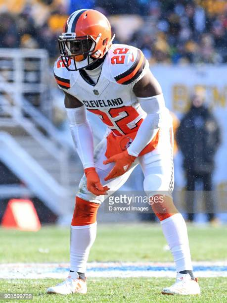 Safety Jabrill Peppers of the Cleveland Browns awaits the snap from his position in the first quarter of a game on December 31 2017 against the...