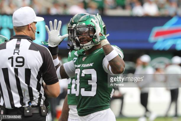 Safety Jamal Adams of the New York Jets speaks to Referee Clay Martin during the third quarter of the game against the Buffalo Bills at MetLife...
