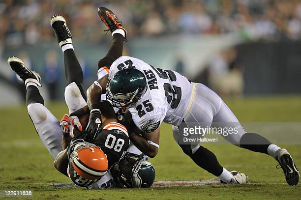 Safety Jarrad Page of the Philadelphia Eagles hits Brian Robiskie of the Cleveland Browns at Lincoln Financial Field on August 25 2011 in...