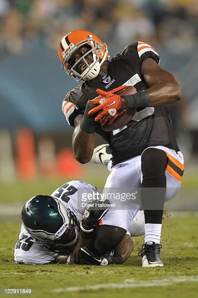 Safety Jarrad Page of the Philadelphia Eagles hits Greg Little of the Cleveland Browns at Lincoln Financial Field on August 25 2011 in Philadelphia...