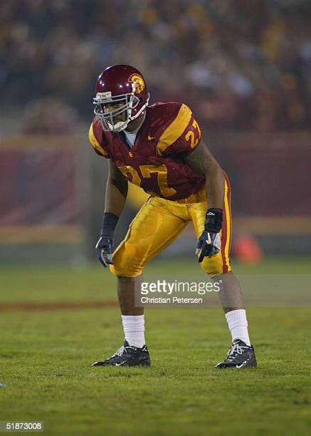 Safety Jason Leach of the USC Trojans on defense against the Arizona Wildcats during the game at LA Memorial Coliseum on November 13 2004 in Los...