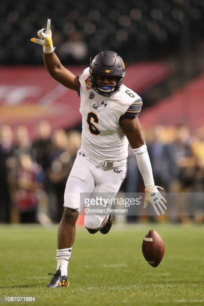 Safety Jaylinn Hawkins of the California Golden Bears celebrates after an interception against the TCU Horned Frogs during the first half of the...