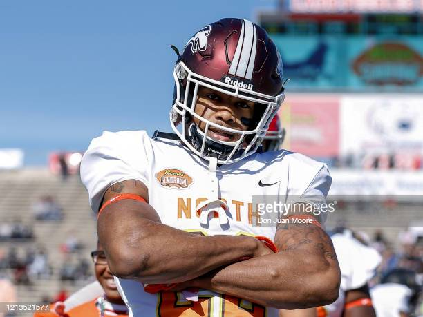 Safety Jeremy Chinn from Southern Illinois of the North Team before the start of the 2020 Resse's Senior Bowl at LaddPeebles Stadium on January 25...