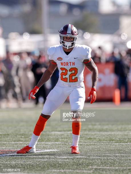 Safety Jeremy Chinn from Southern Illinois of the North Team during the 2020 Resse's Senior Bowl at LaddPeebles Stadium on January 25 2020 in Mobile...