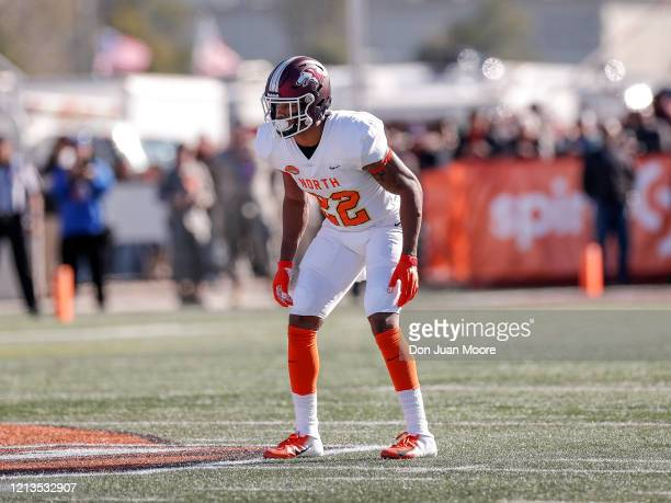 Safety Jeremy Chinn from Southern Illinois of the North Team during the 2020 Resse's Senior Bowl at Ladd-Peebles Stadium on January 25, 2020 in...
