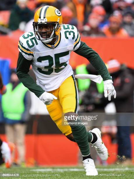 Safety Jermaine Whitehead of the Green Bay Packers runs downfield to cover a kickoff return in the first quarter of a game on December 10 2017...