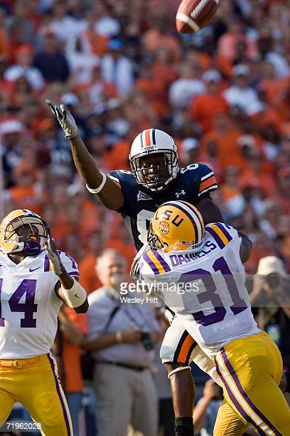 Safety Jessie Daniels of the LSU Tigers defends against wide receiver Courtney Taylor of the Auburn Tigers on September 16, 2006 at Jordan-Hare...