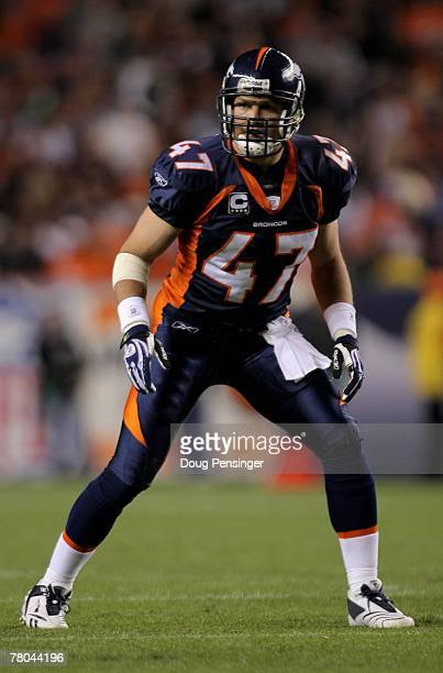 Safety John Lynch 47 of the Denver Broncos lines up against the Tennessee Titans at Invesco Field at Mile High on November 19 2007 in Denver Colorado...