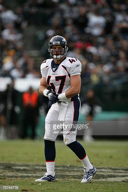 Safety John Lynch of the Denver Broncos looks on against the Oakland Raiders at McAfee Coliseum on November 12 2006 in Oakland California The Broncos...