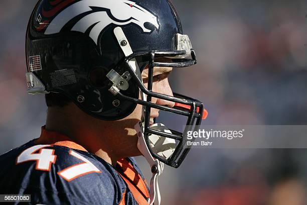 Safety John Lynch of the Denver Broncos looks on prior to the game against the Oakland Raiders on December 24 2005 at Invesco Field at Mile High in...