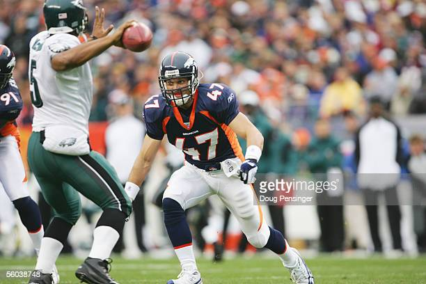 Safety John Lynch of the Denver Broncos rushes the passer against the Philadelphia Eagles at INVESCO Field at Mile High on October 30 2005 in Denver...