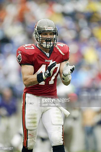 Safety John Lynch of the Tampa Bay Buccaneers claps his hands during the NFL game against the Baltimore Ravens on September 15 2002 at Ravens Stadium...