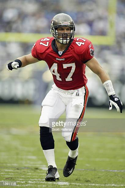 Safety John Lynch of the Tampa Bay Buccaneers follows the play during the NFL game against the Baltimore Ravens on September 15 2002 at Ravens...
