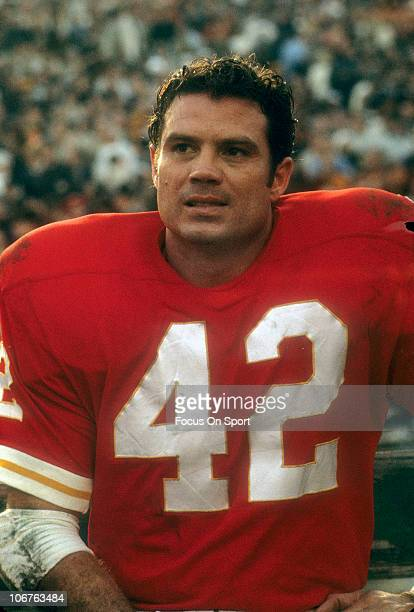 Safety Johnny Robinson of the Kansas City Chiefs looks on from the sidelines during Super Bowl IV against the Minnesota Vikings on January 11 1970 at...