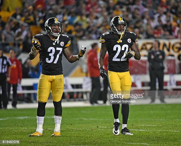 Safety Jordan Dangerfield and cornerback William Gay of the Pittsburgh Steelers look on from the field during a game against the Kansas City Chiefs...