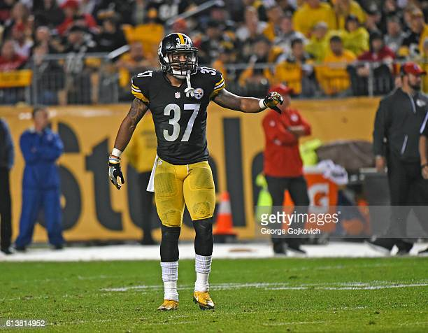 Safety Jordan Dangerfield of the Pittsburgh Steelers signals during a game against the Kansas City Chiefs at Heinz Field on October 2, 2016 in...
