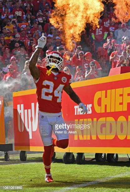Safety Jordan Lucas of the Kansas City Chiefs is introduced prior to game against the Denver Broncos on October 28 2018 at Arrowhead Stadium in...